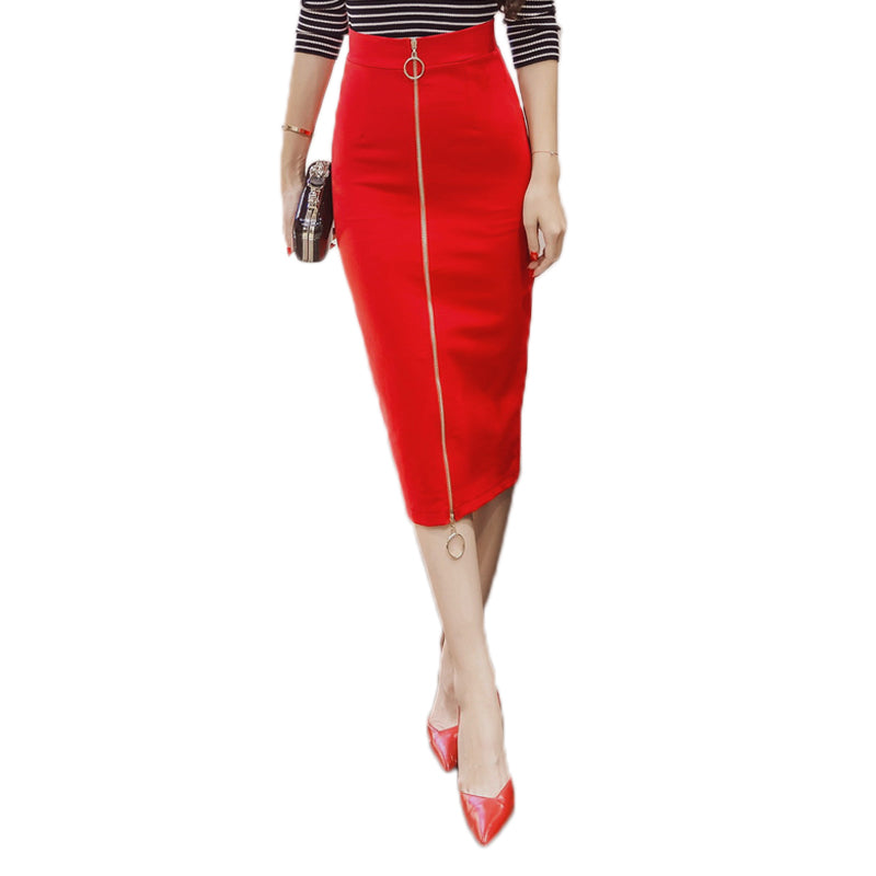 Women Skirt Fashion Zipper Knee Length Pencil Skirt Slim Midi Skirt