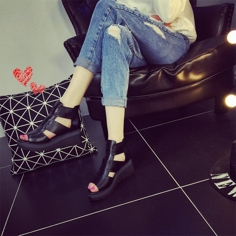 Women Fashion Shoes Platform Sandals Genuine Leather Open Toe Rome Shoes - Style Lavish