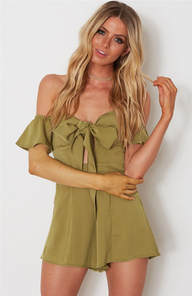 Off Shoulder Flare Sleeve Bow Tie Front Bustier Padded Women Casual Strapless Rompers