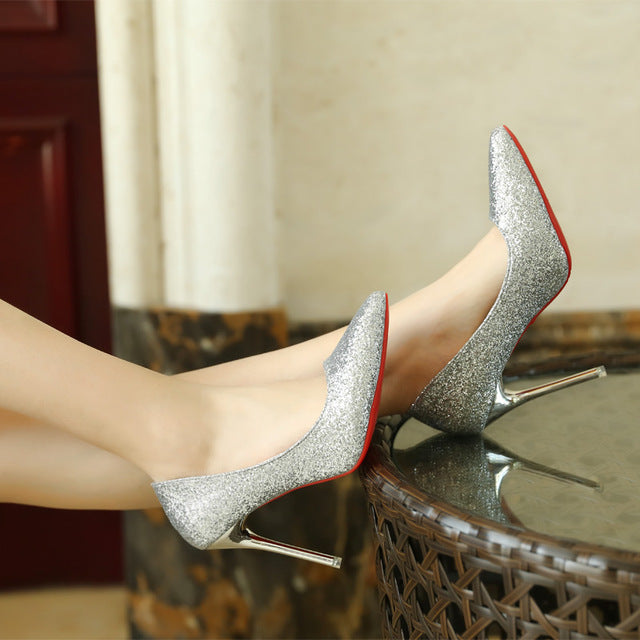 Women Summer Shoes Pointed Toe Pumps Patent High Heels Wedding Shoes
