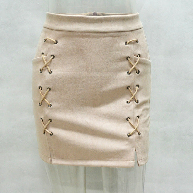 Suede Leather Mini Skirt Womens  Classic Vintage High Waist Lace-Up Split Bodycon Skirts