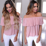 Women Summer Casual Loose Ruffle Off Shoulder Tops Dusty Blouse
