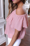 Women Clothes Summer Costume Casual Loose Ruffle Off Shoulder Tops Dusty Blouse Pink