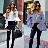 Women Summer Tops Tank Loose Blouse Blue White Long Sleeve Flare Sleeve Autumn Spring Costume