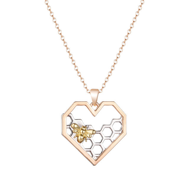 Heart Hive Pendant Necklace Fashion Women Jewelry Rose Gold color Chain Necklaces Women's Gift