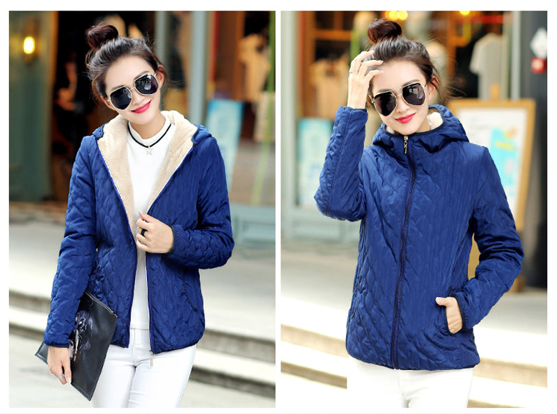 Women Winter Jacket Hooded Fleece Solid Coat Spring Thin Outerwear Short Zipper