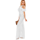 Women Jumpsuits Solid Ruffles Off Shoulder Long Elegant Work Jumpsuits