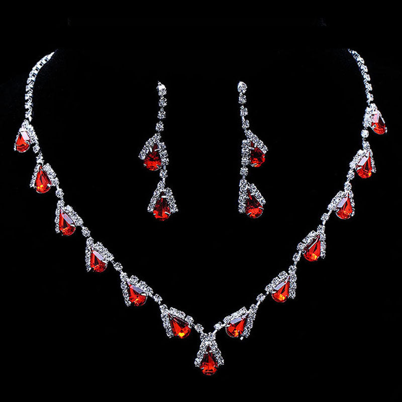 Women Fashion Red Crystal Teardrops Bridal Jewelry Set Necklace Earrings Wedding Bridesmaid Jewelry Set