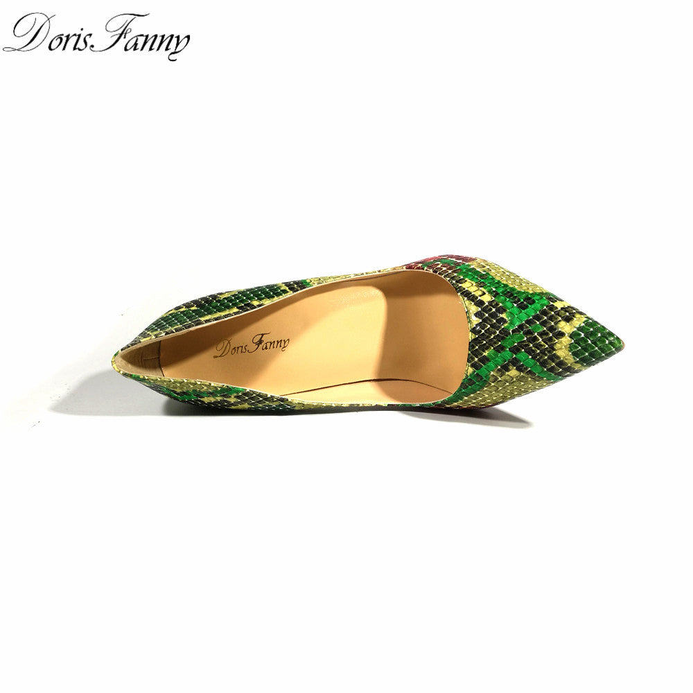 Green High Heel Shoes Snake Printing Women Shoes Pumps Party Wedding - Style Lavish