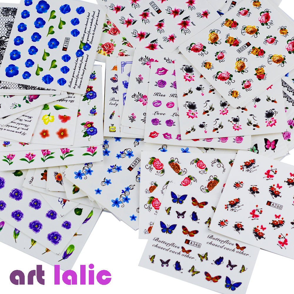 50 Sheets Mixed Designs Water Transfer Nail Art Sticker Watermark Decals DIY Decoration For Beauty Nail Tools Random Patterns - Style Lavish