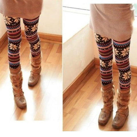 Snowflakes Soft Knitted Multi-patterns Comfortable Crystal Pattern Tights Pants