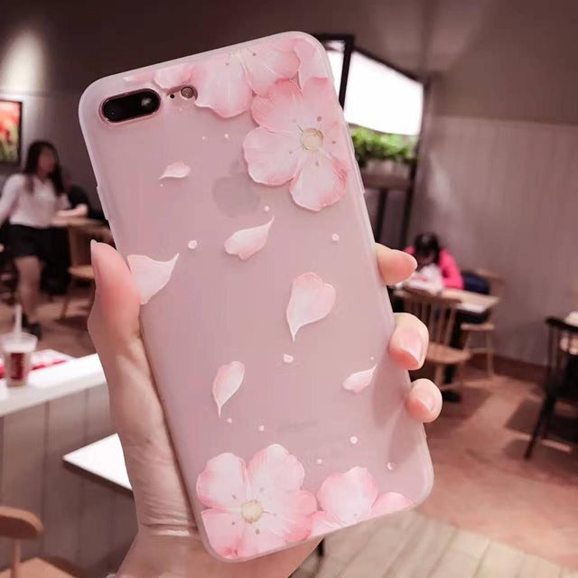 Lace Petals Soft Case for iphone 7 Case Frosted Transparent Silicone Cover For iphone 6 6S 7 Plus Phone Cases Women