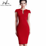 Nice-forever Office Women Vintage Summer Solid Deep V neck Zipper Back Formal Stretch Pencil work Bodycon Pocket Dress