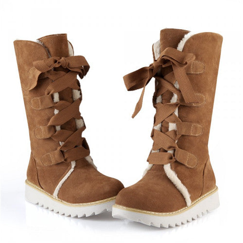 Casual Mid Calf Boots Woman Leopard Flat Platform Comfort Winter Snow Boots Shoes - Style Lavish