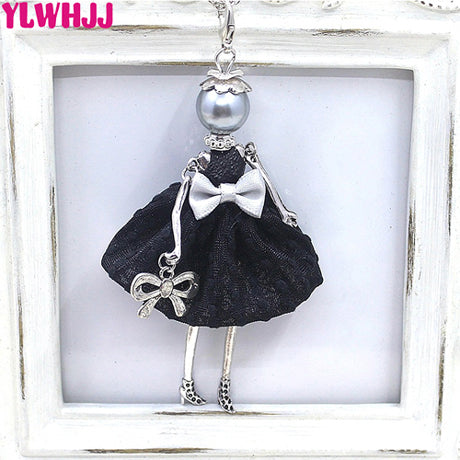 Women Doll Black Long Necklaces & Pendant  Dress Baby Girls Maxi Necklace Fashion Statement Jewelry