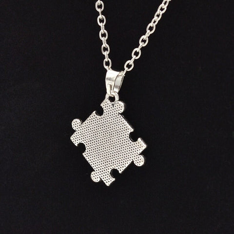 Autism Awareness Jigsaw Puzzle Piece Crystal Paved Pendant Fashion Necklace Jewelry - Style Lavish