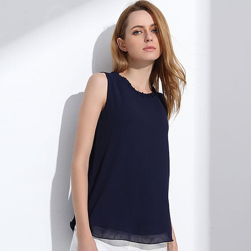 Women Chiffon Blouse Summer Sleeveless Candy Tops Casual Fungus Collar Clothes - Style Lavish