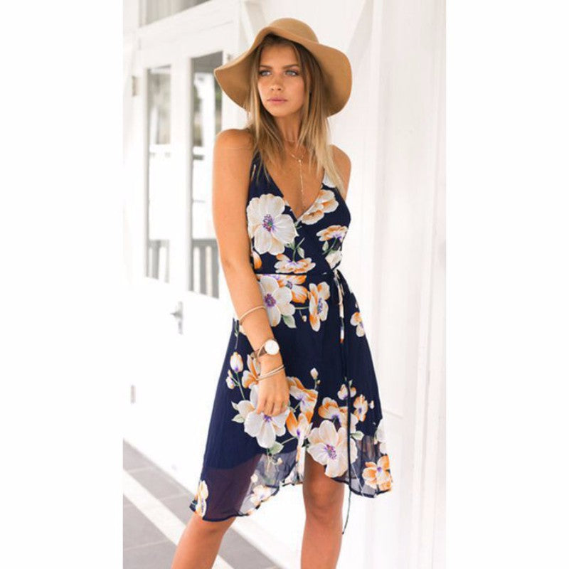 Summer Sundress Mini Dress Women Clothing Vintage Robe Floral Strap Backless Boho beach tunic Wrap