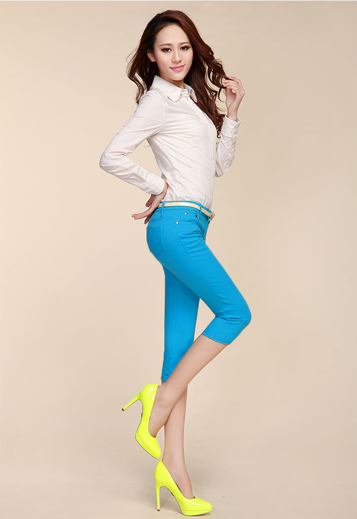 Women Summer Style Capris Pants Cotton Skinny Denim Capris