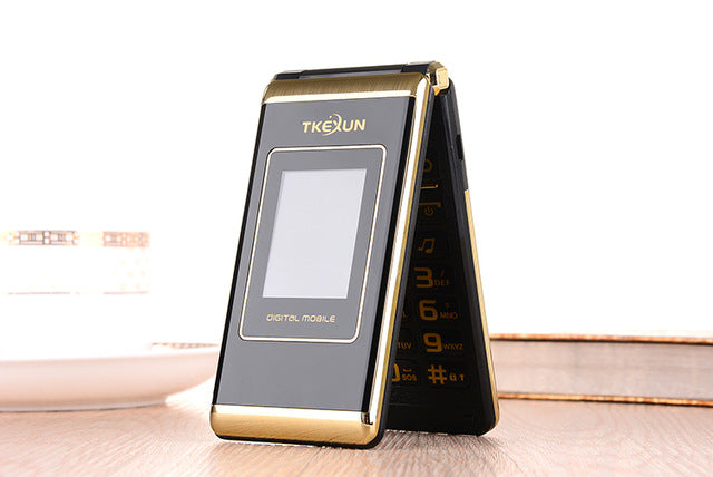 Original TKEXUN M1 Women Flip Phone Dual Screen Dual Sim Camera MP3 MP4 2.4 Inch Touch Screen Luxury Cell Phone