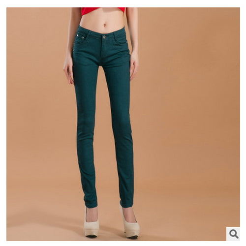 Fashion Slim Show Thin Candy Color Pencil Denim Pants  Women  Solid Color Casual Carry Buttock Jeans - Style Lavish