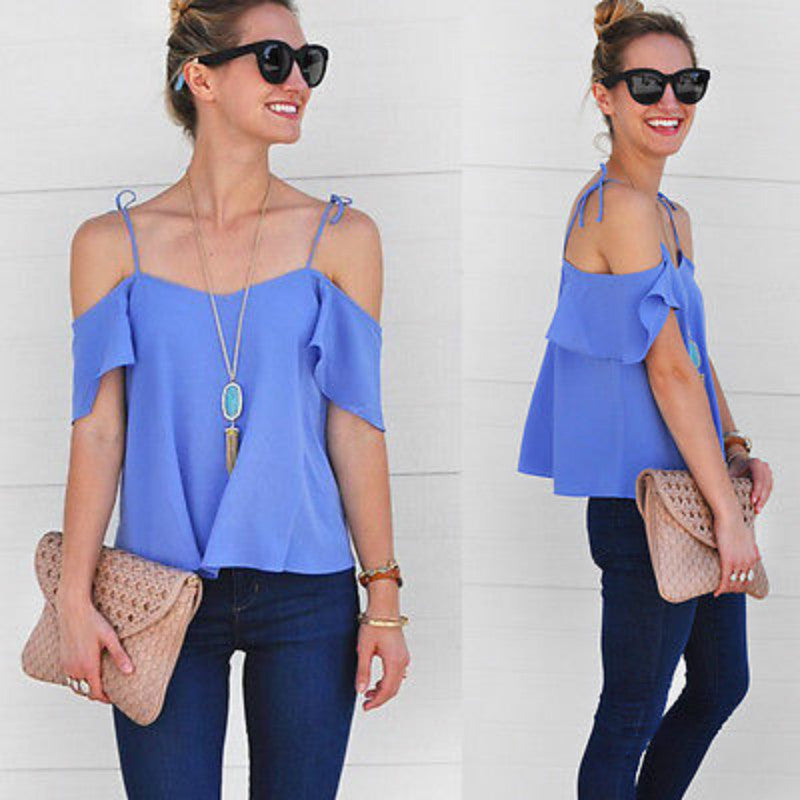 Fashion Women Summer Loose Top Off Shoulder Blouse Ladies Casual Tops - Style Lavish