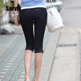 Summer Capri Leggings For Women Stretch Pencil Pants Casual Skinny Trousers
