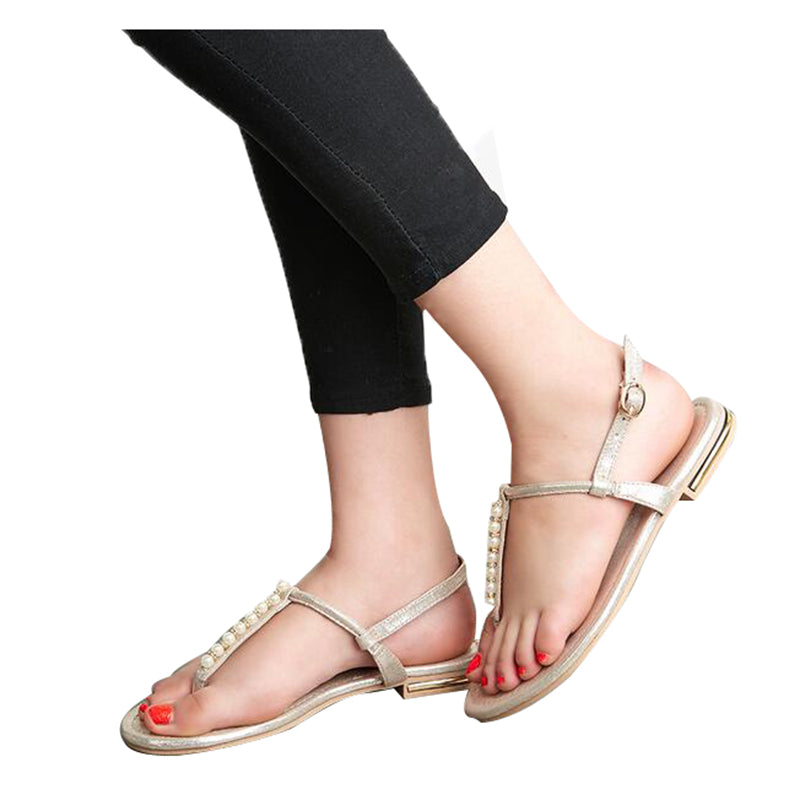 HEE GRAND T-strap Women Sandals Artificial Pearl Flat With Flip Flops Comfortable Summer Shoes XWZ3569