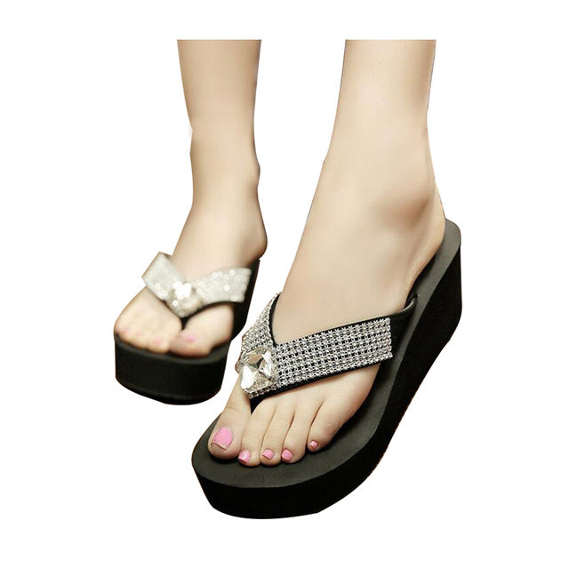 Big Rhinestones Slippers Woman Platform Thick Bottom Flip Flops Summer Casual Beach Shoes - Style Lavish