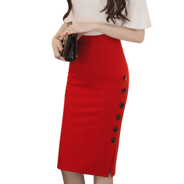 Fashion Autumn Slim Pencil Skirts Women Plus Size 5XL High Waist Skirt Open Fork Sexy Office Midi Skirts femme faldas Black Red - Style Lavish