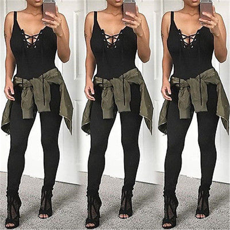 Women clothes Casual Cotton Jumpsuits Rompers BLACK