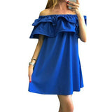 Women Summer Dresses Beach Girl Fashion Short Off Shoulder Mini Casual  Boho Dress