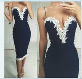 Sexy Summer Women Evening Party Dresses V Collar Camisole Sleeve Lace Dress