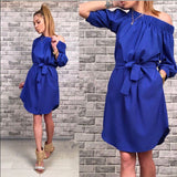Women Summer Fashion Dress Loose Solid Three Quarter Sleeve Slash Neck Mini Beach Wear Dresses