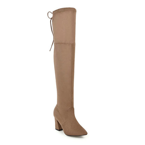 Flock Leather Women Over The Knee Boots Lace Up Sexy High Heels Autumn Woman Shoes Winter Women Boots