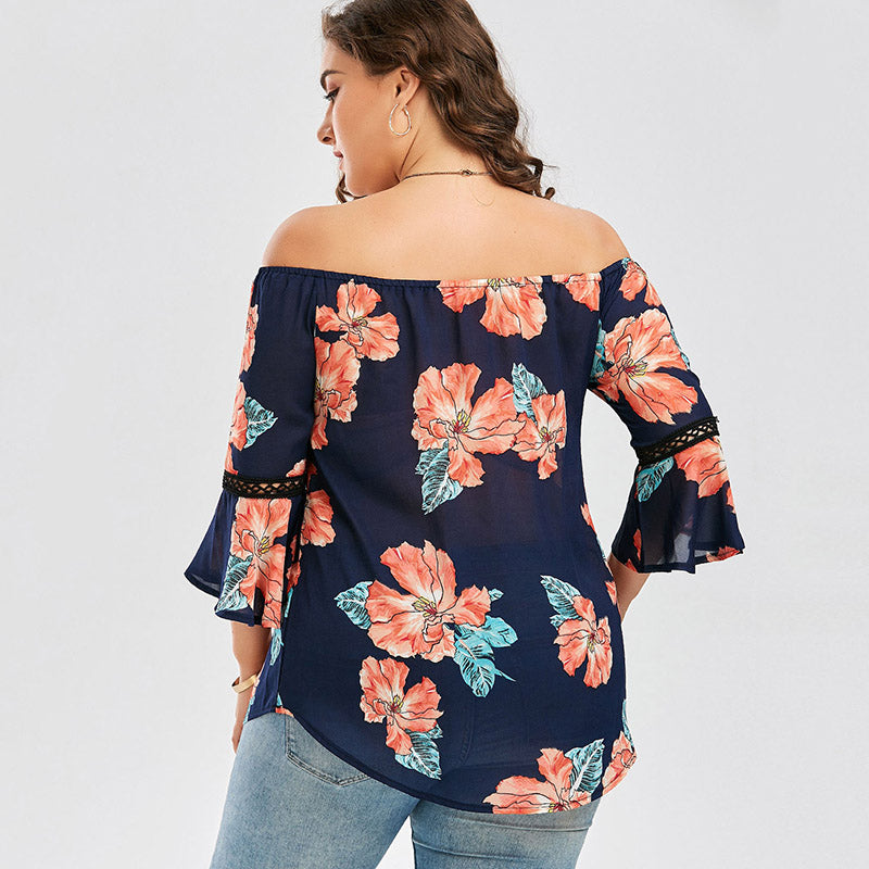 Floral Print Chiffon Off The Shoulder Blouse Shirt Summer Flare Sleeve Casual Hawaiian Beach Top