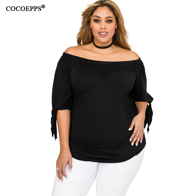 Casual Loose Lacing Half Sleeves Women Top Sexy Off Shoulder Solid  Blouse Clothing - Style Lavish