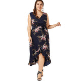 Floral Print Chiffon Beach Maxi Long Dress Summer Women Clothes Sexy V Neck Boho Wrap Tank Dress Sundress