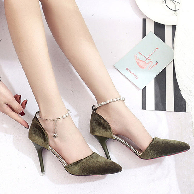 Elegant Women Pumps Sexy Ankle Straps High Heels Shoes Summer Suede Heel Sandals - Style Lavish