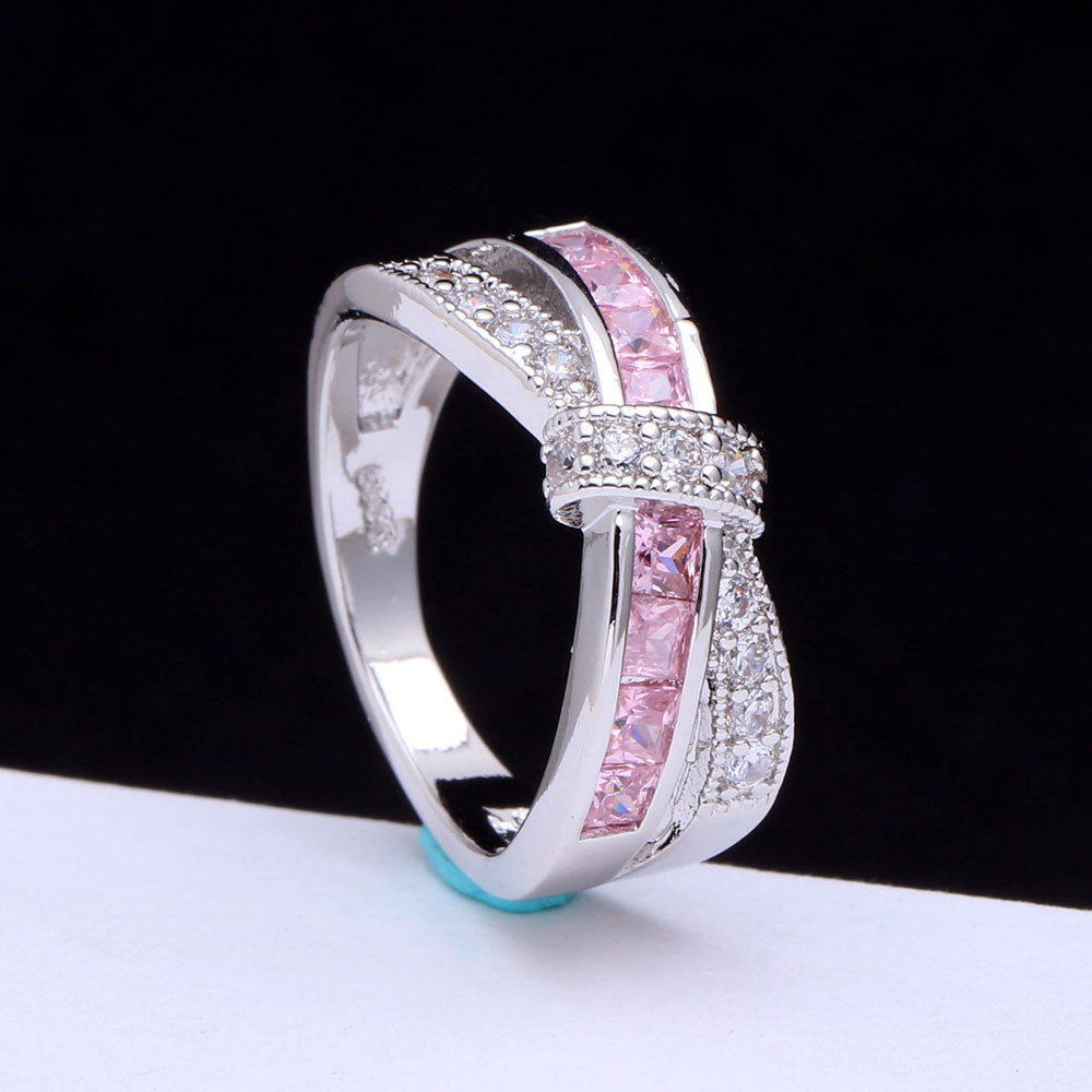 Cross Finger RingLady Paved Zircon Luxury Princess Women Wedding Engagement Ring - Style Lavish
