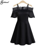Summer Women Lace Dress Short Sleeves Fashion Sexy Off Shoulder Dresses Elegant  Women Clothing