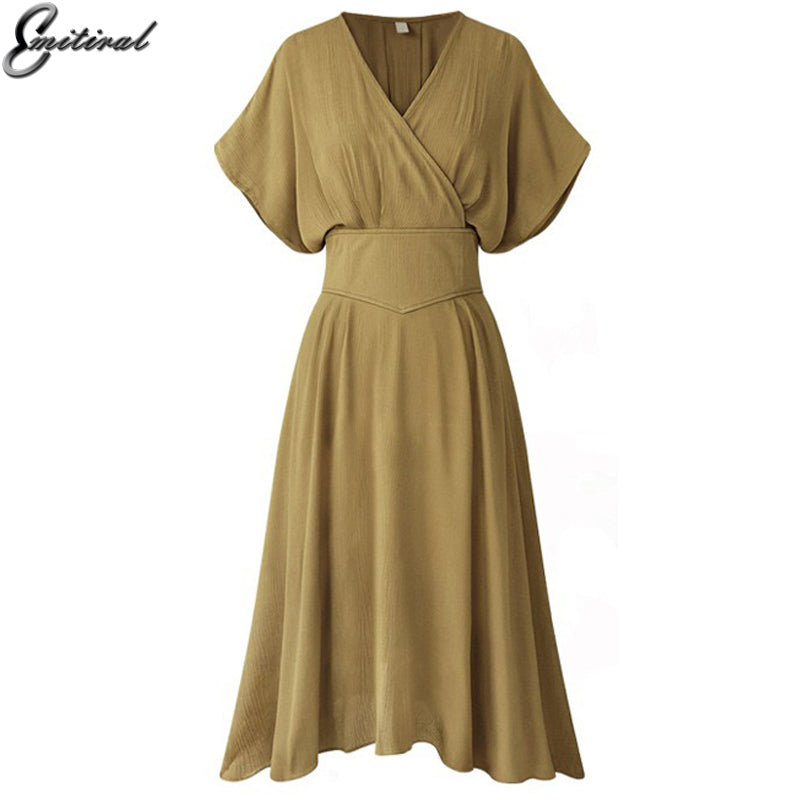 Summer Sexy V Neck Women Dress Short Sleeves Elastic Waistband Female Tunic Dress Casual