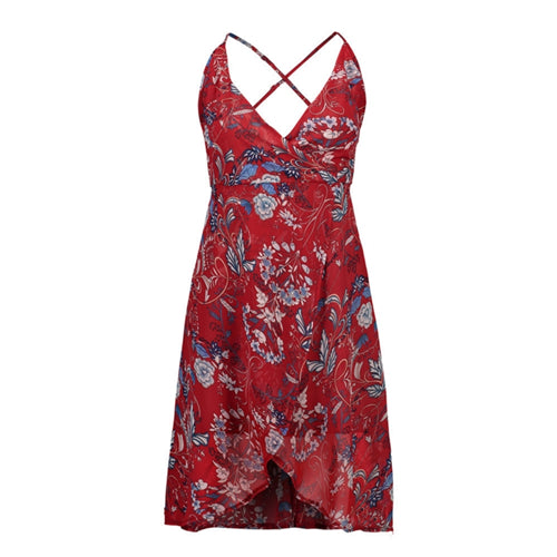 Sexy Beach Dress Women Summer Dress 2017 Backless Print Sleeveless Spaghetti Strap Women Dress Chiffon Mid-Calf Party Dresses