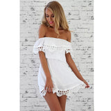 Women  Fashion Elegant Vintage Lace White Dress Stylish Slash Neck Casual Slim Beach Summer Sundress