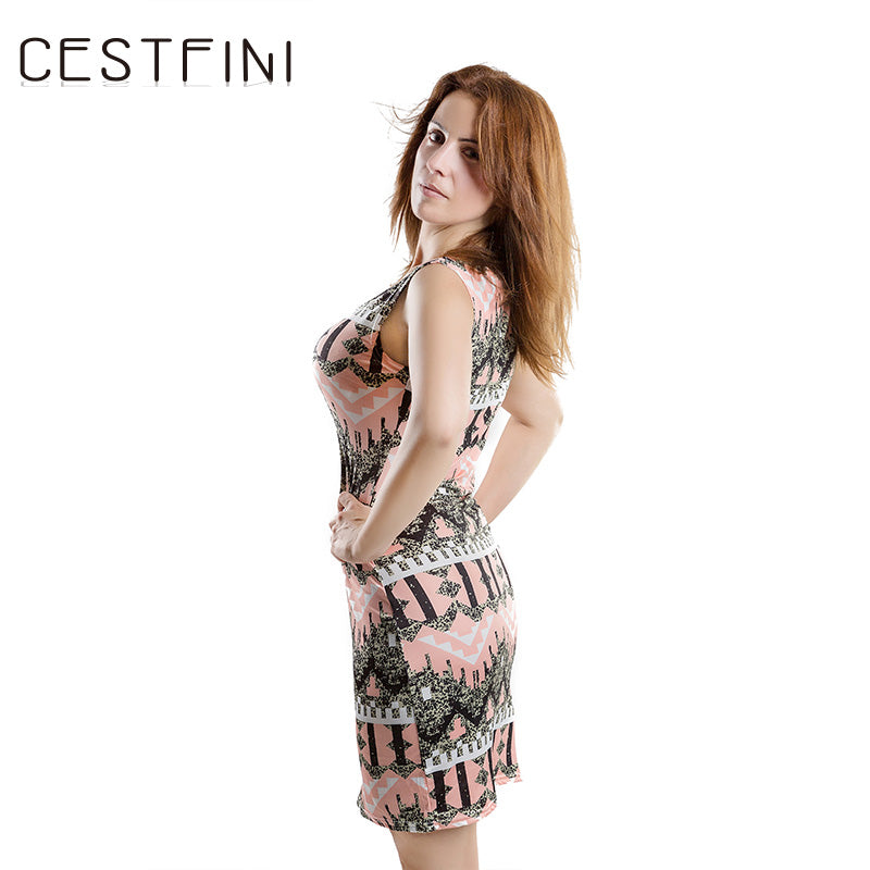 Fashion Flower Sleeveless Knitted Casual Dress Women Cotton Short Pencil Dress - Style Lavish