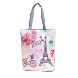 European Style Canvas Shoulder Bag Tower Printed Zipper Bags For Shopping Bag Casual Women Canvas Beach Bags - Style Lavish
