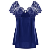 Summer Vintage Cutwork Lace Trim Top Women Short Sleeve Sexy Blouse V Neck