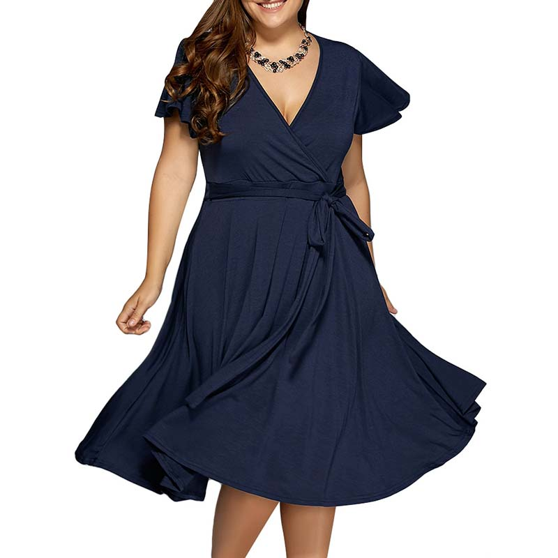 Women Clothes Summer Sexy V Neck Dress Vintage Midi Dress Sundress