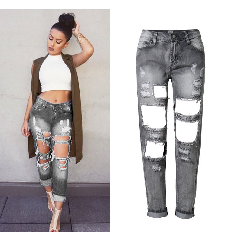 on feet images of presenting buy good Women Hole Ripped Jeans Pants Cool Denim Vintage Straight Jeans For girl  Mid Waist Casual Pants