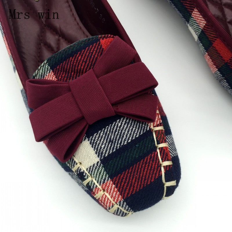 England Style Gingham Women Casual Loafers Spring Autumn Square Toe Bowtie Slip On Flats For Woman Single Shoes - Style Lavish